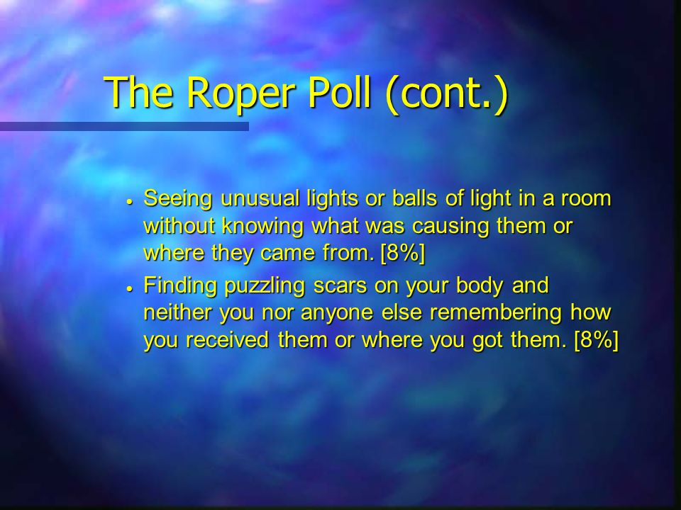 The Roper Poll (cont.) Seeing unusual lights or balls of light in a room without knowing what was causing them or where they came from. [8%]